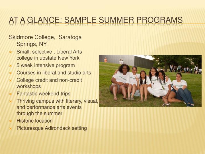 At a glance: Sample Summer Programs