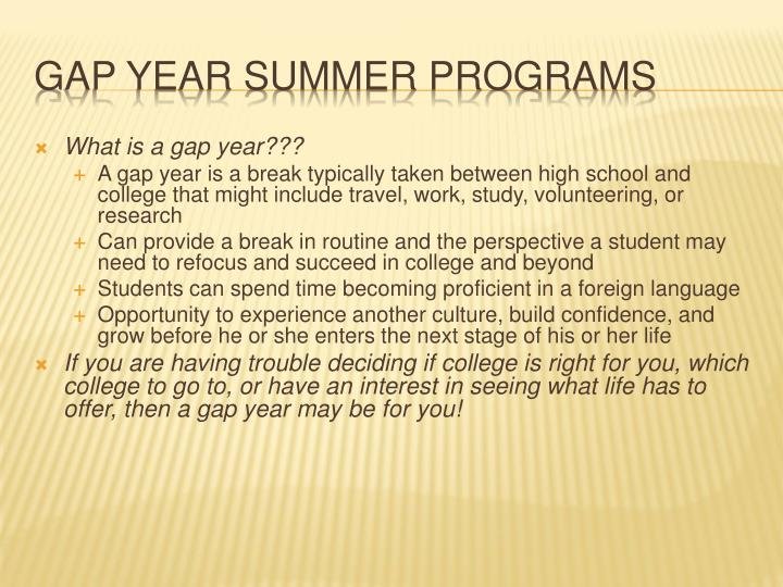 What is a gap year???