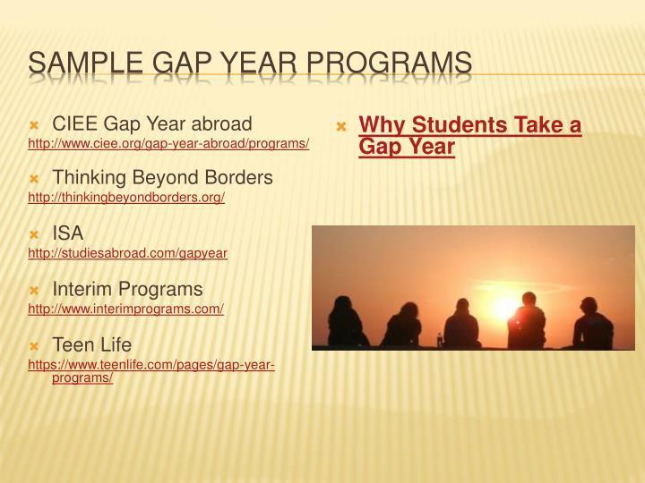SAMPLE GAP YEAR PROGRAMS