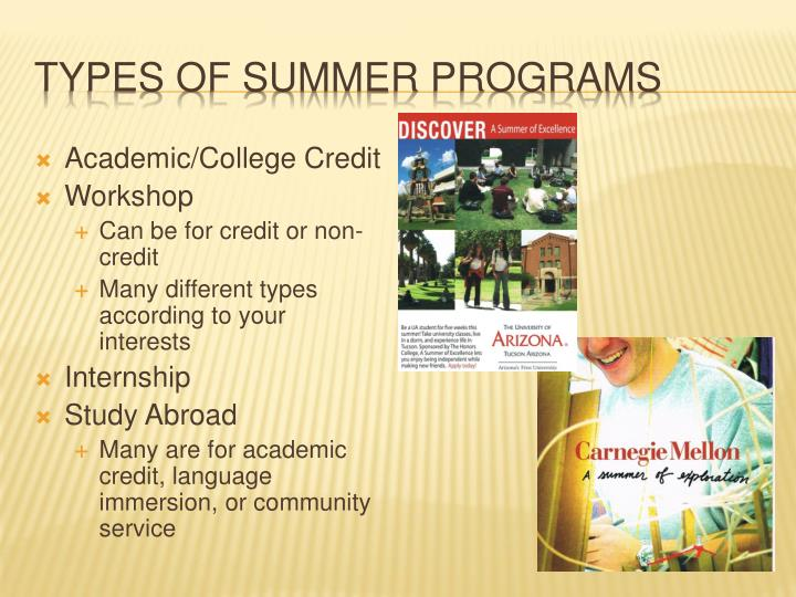 Types of summer programs