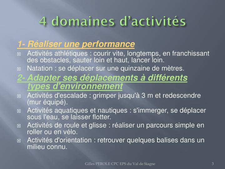 4 domaines d activit s