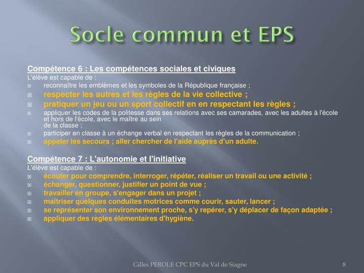 Socle commun et EPS