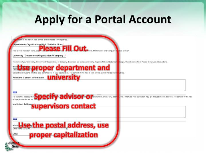 Apply for a Portal Account