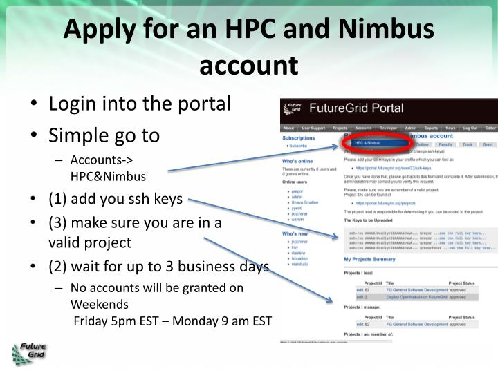 Apply for an HPC and Nimbus account
