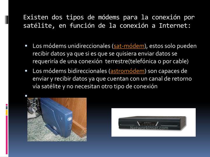 Existen dos tipos de módems para la conexión por satélite, en función de la conexión a Internet: