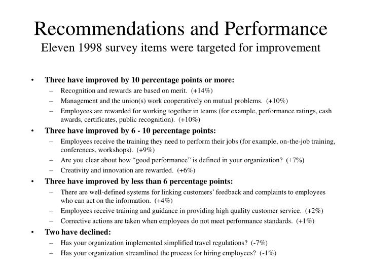 Recommendations and Performance