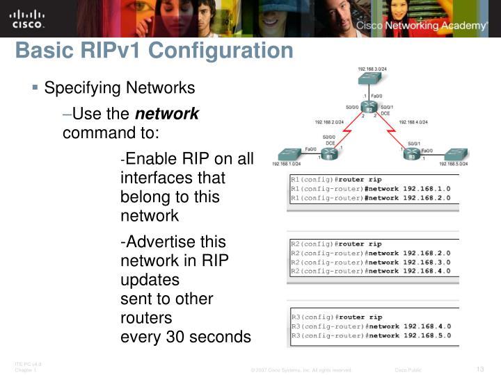 Basic RIPv1 Configuration