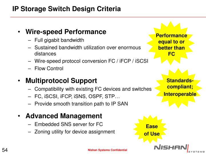 IP Storage Switch Design Criteria