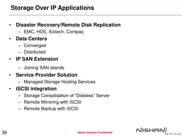 Storage Over IP Applications