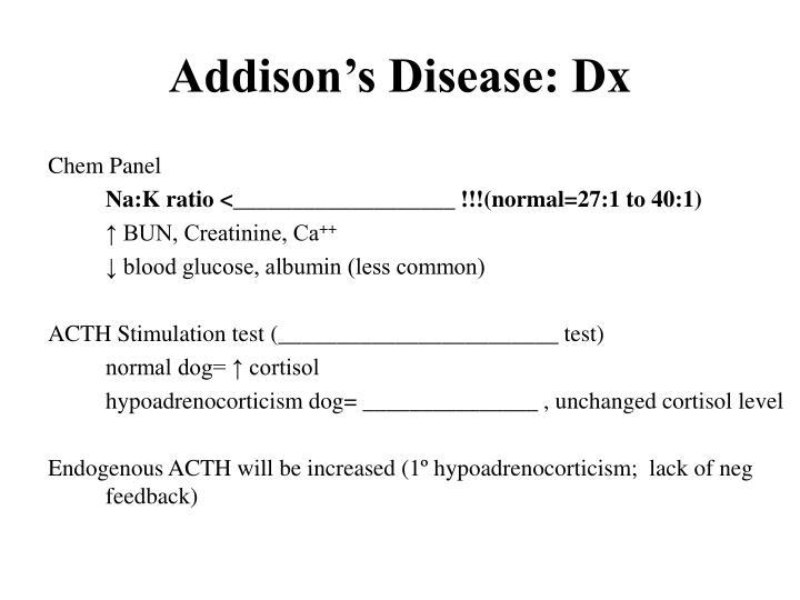 Addison's Disease: Dx