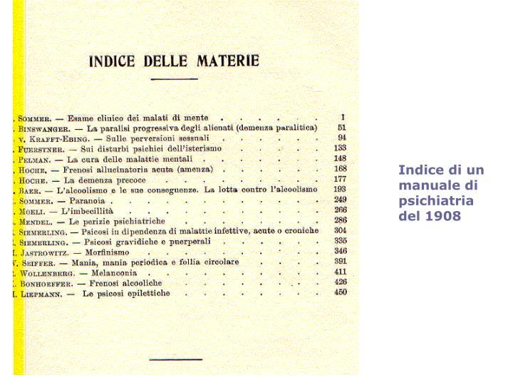 Indice di un manuale di psichiatria del 1908