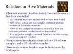 residues in hive materials