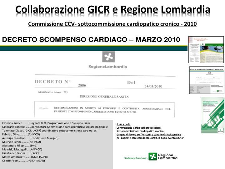 Collaborazione GICR e Regione Lombardia