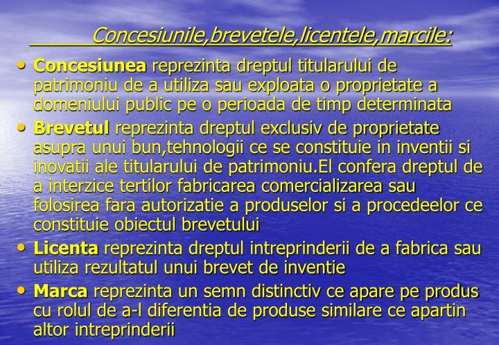 Concesiunile,brevetele,licentele,marcile: