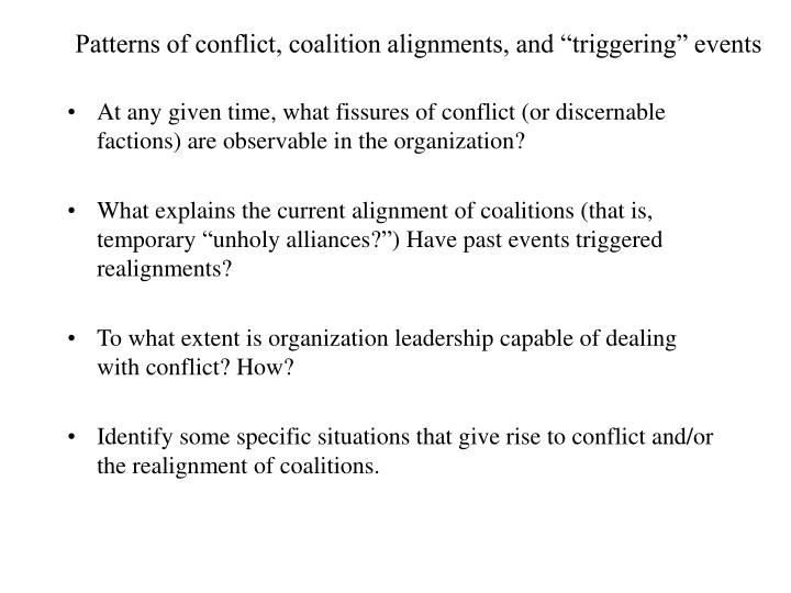 Patterns of conflict coalition alignments and triggering events