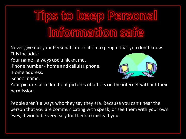 Tips to keep Personal Information safe