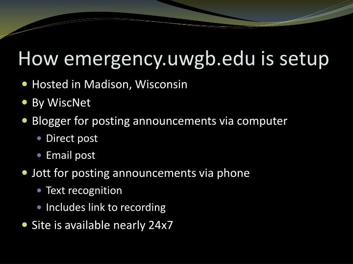How emergency.uwgb.edu is setup
