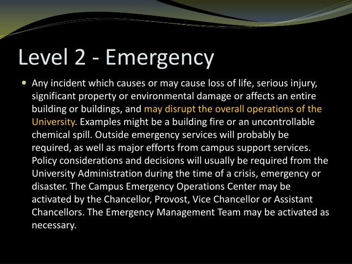Level 2 - Emergency