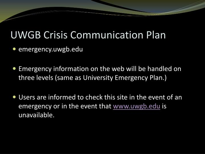 UWGB Crisis Communication Plan