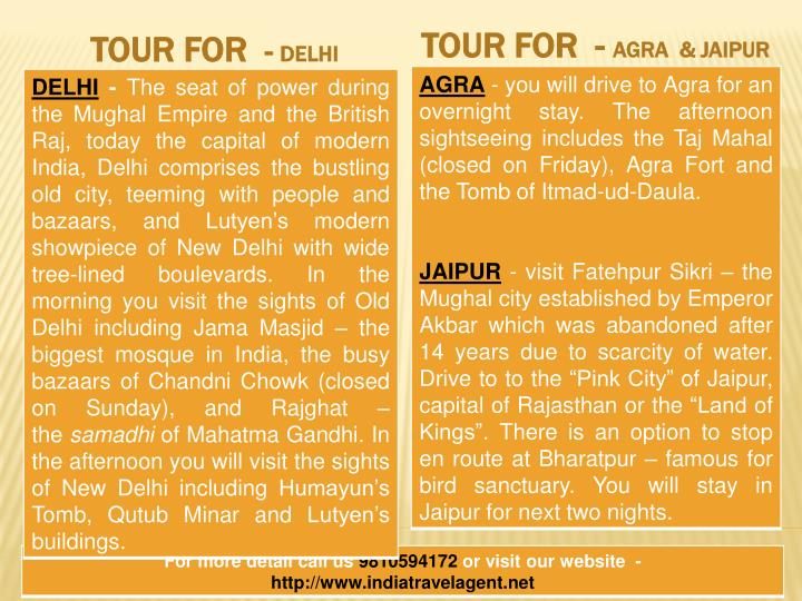TOUR FOR