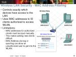 wireless lan security mac address filtering