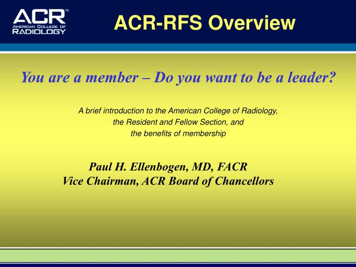 Acr rfs overview