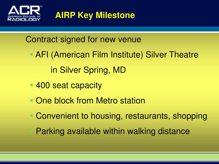 AIRP Key Milestone