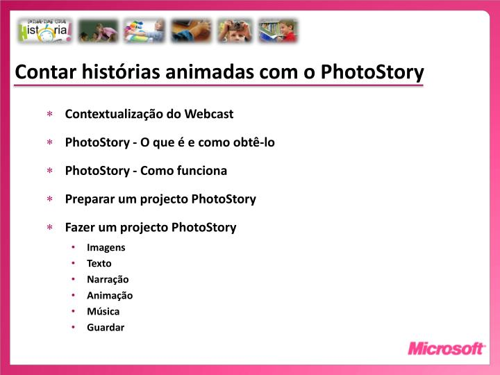 Contar histórias animadas com o PhotoStory