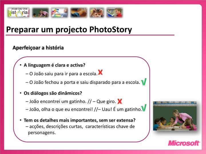 Preparar um projecto PhotoStory