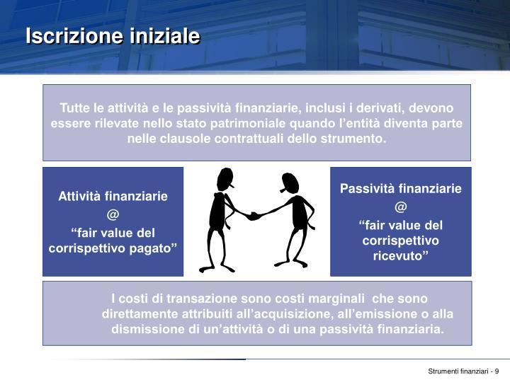 I costi di transazione sono costi marginali  che sono direttamente attribuiti all'acquisizione, all'emissione o alla dismissione di un'attività o di una passività finanziaria.
