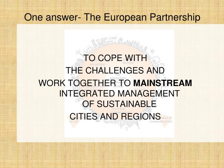 One answer the european partnership