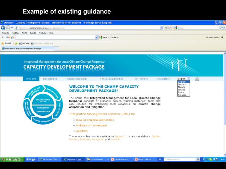 Example of existing guidance