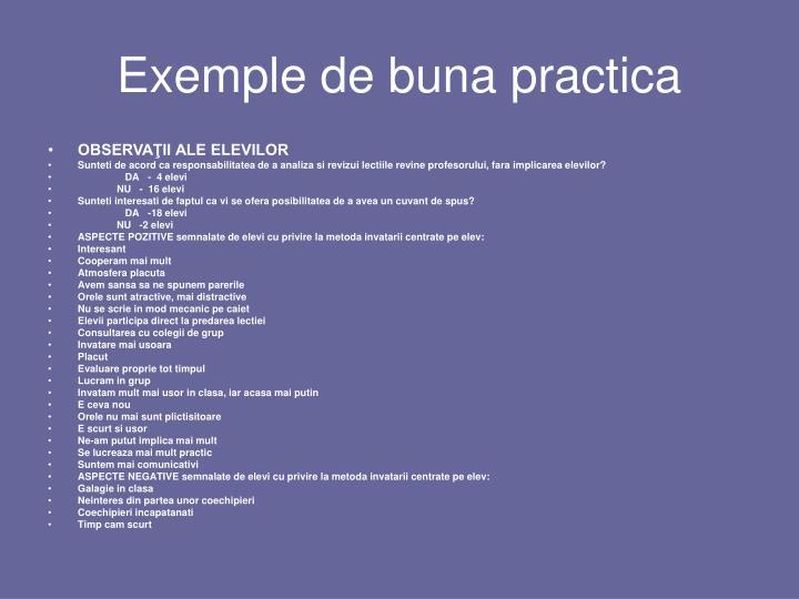 Exemple de buna practica