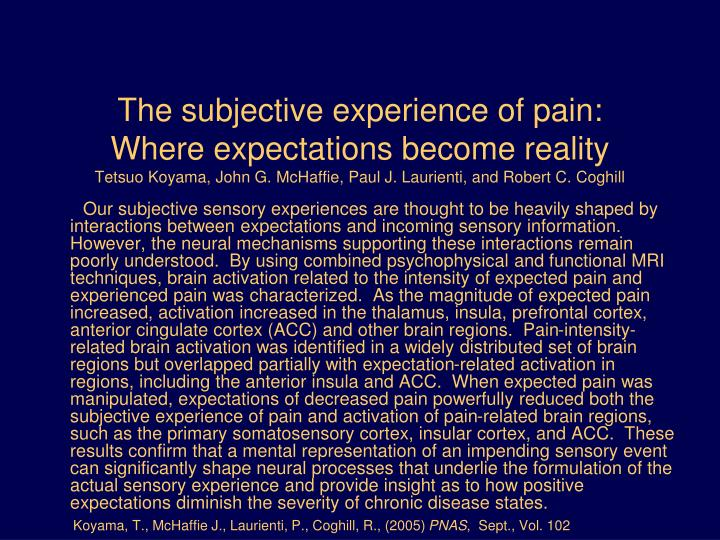 The subjective experience of pain: