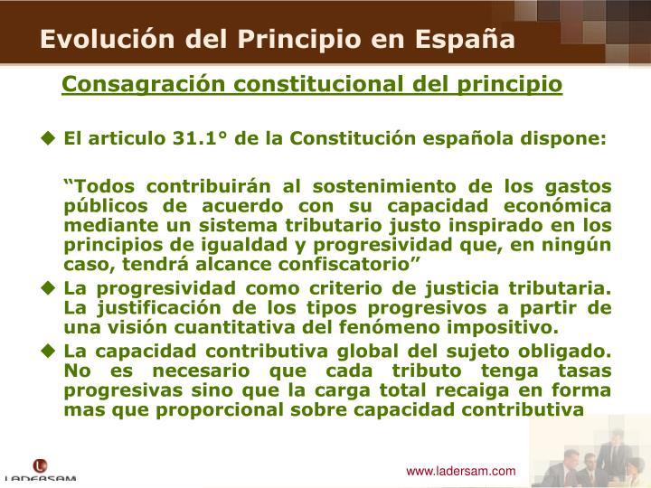 Consagración constitucional del principio