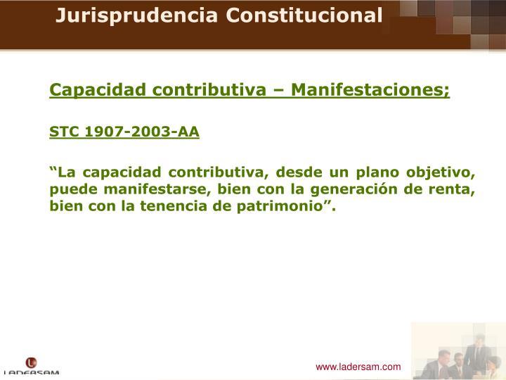 Capacidad contributiva – Manifestaciones;