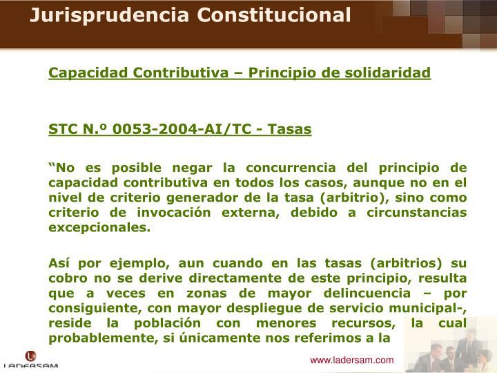 Capacidad Contributiva – Principio de solidaridad