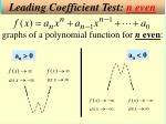 leading coefficient test n even