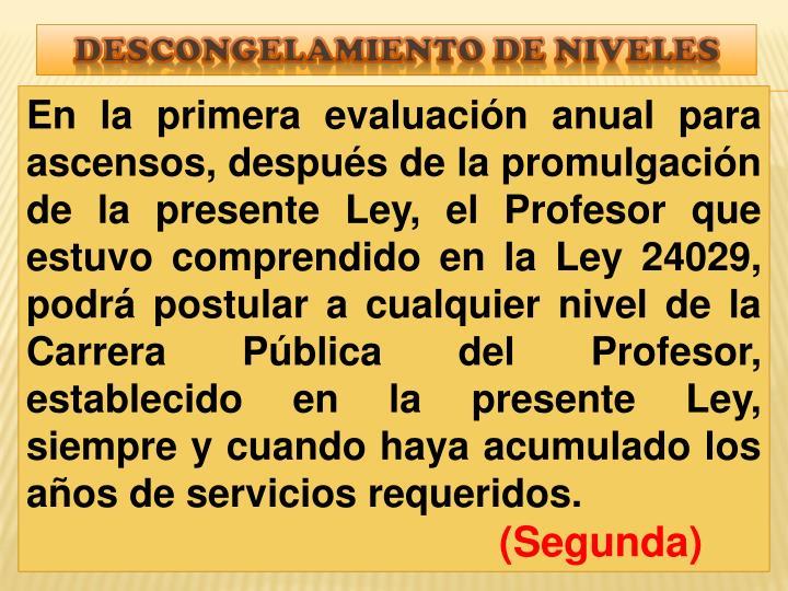 DESCONGELAMIENTO DE NIVELES