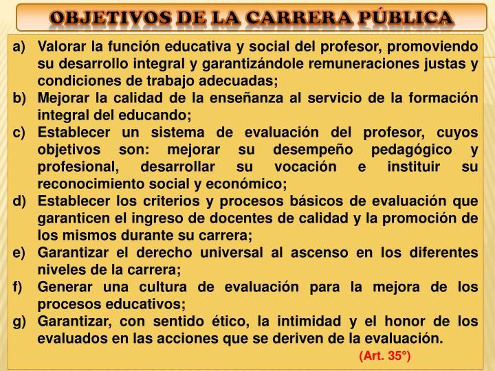 objetivos de La Carrera pública