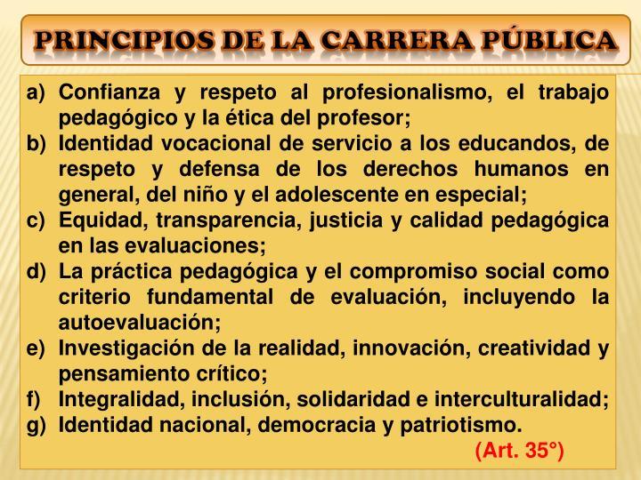 Principios de La Carrera pública