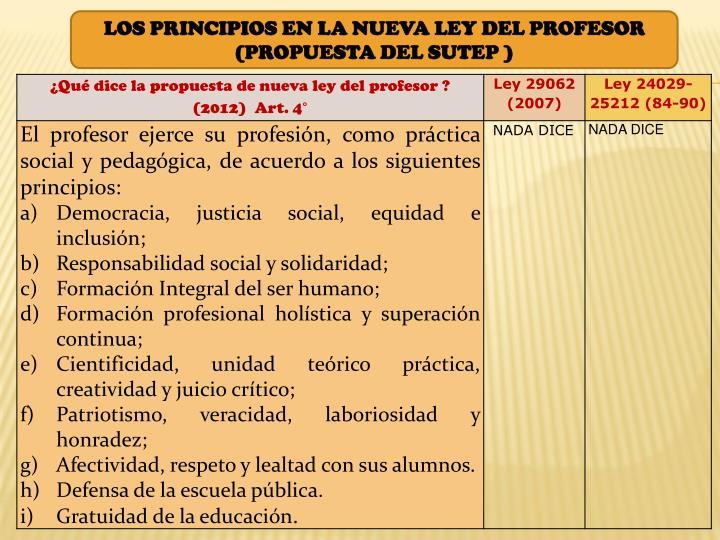 LOS PRINCIPIOS EN LA NUEVA LEY DEL PROFESOR