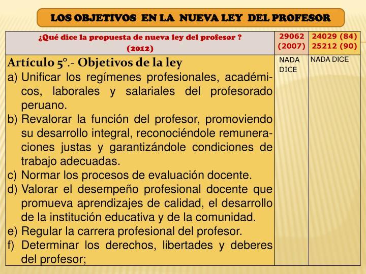 LOS OBJETIVOS  EN LA  NUEVA LEY  DEL PROFESOR