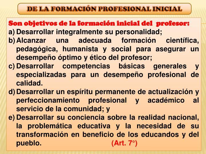 DE LA FORMACIÓN PROFESIONAL INICIAL