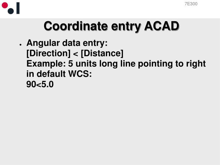 Coordinate entry ACAD