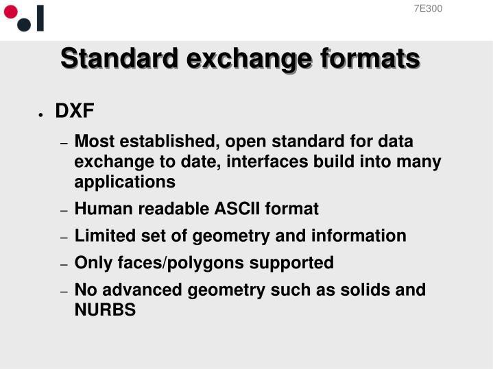 Standard exchange formats