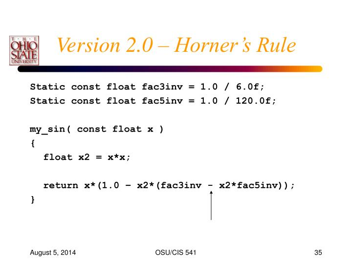 Version 2.0 – Horner's Rule