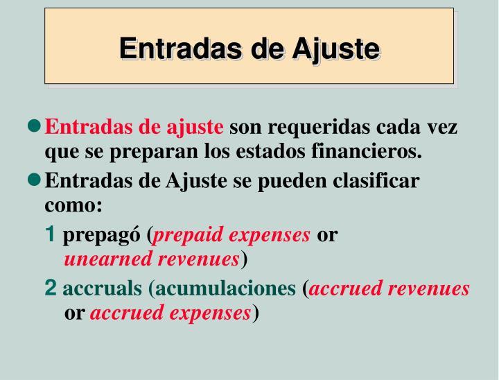 Entradas de Ajuste