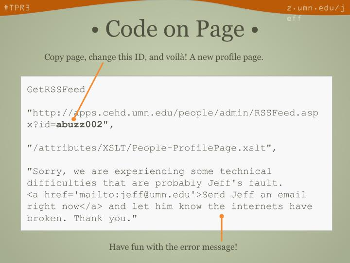 Copy page, change this ID, and voilà! A new profile page.