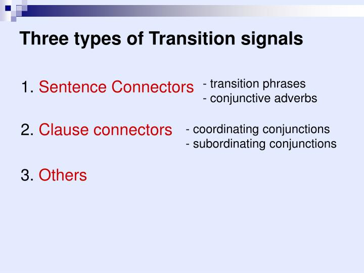 Three types of Transition signals